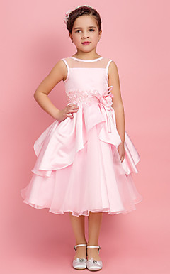 Ball Gown Jewel Tea-length Satin And Organza Flower Girl Dress