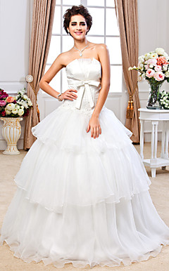 Ball Gown Strapless Floor-length Satin And Organza Wedding Dress