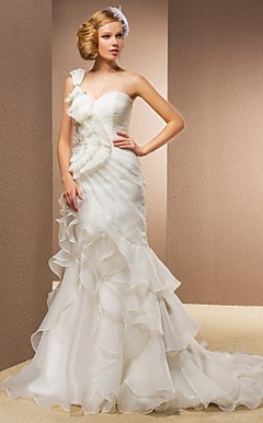Trumpet/Mermaid One Shoulder Sweetheart Court Train Organza And Satin Wedding Dress