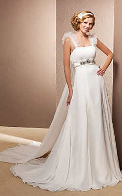 A-line Straps Chapel Train And Watteau Train Chiffon Wedding Dress