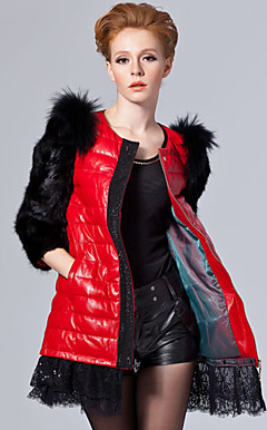 3/4 Sleeve Collarless Lambskin Leather With Mink Fur And Raccoon Fur Casual/Party Coat (More Colors)