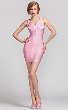 Sheath/Column V-neck Short/Mini Rayon Bandage Dress