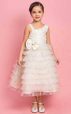A-line Princess Tea-length Flower Girl Dress