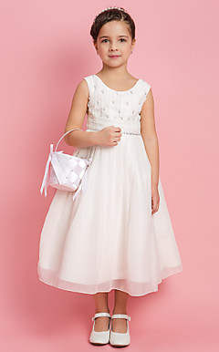 A-line Princess Jewel Tea-length Chiffon Flower Girl Dress