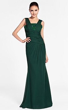 Trumpet/Mermaid Square Floor-length Chiffon Evening Dress