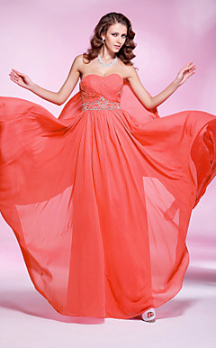 Sheath/ Column Sweetheart Floor-length Chiffon Evening Dress