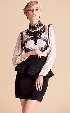 TS Contrast Color Lace Decor Stand Collar Blouse Shirt