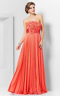 schede / kolom strapless vloer-length chiffon avondjurk