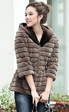 Half Sleeve Hooded Collar Rex Rabbit Fur Casual/Office Jacket (More Colors)