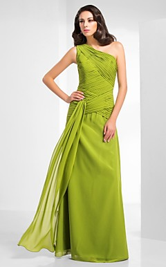 Chiffon Sheath/Column One Shoulder Floor-length Evening Dress inspired by Sigourney Weaver at Golden Globe