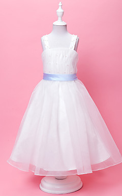 Ball Gown Straps Floor-length Organza Flower Gril Dress