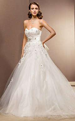 Ball Gown Sweetheart Cathedral Train Tulle Wedding Dress
