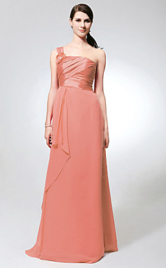 Sheath/ Column One Shoulder Floor-length Chiffon And Taffeta Bridesmaid Dress