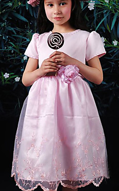Sweet Short Sleeve Satin/Tulle Wedding/Evening Flower Girl Dress