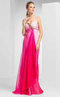 Sheath/Column Spaghetti Sweetheart Floor-length Chiffon Evening Dress