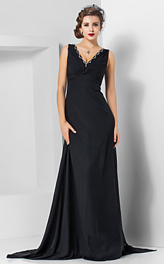 Sheath/Column V-neck Sweep/Brush Train Chiffon Evening Dress