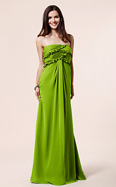 Sheath/ Column Strapless Floor-length Chiffon Bridesmaid Dress