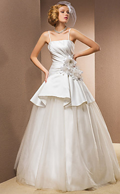 Ball Gown Strapless Floor-length Satin And Taffeta Wedding Dress With Removable Straps