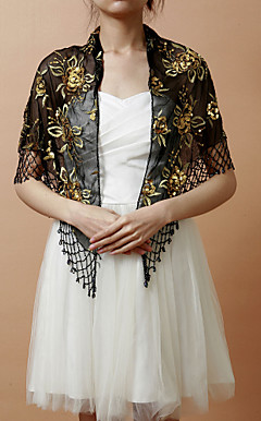 Nice Rayon Evening/Wedding Shawl With Embroidery &amp; Sequins