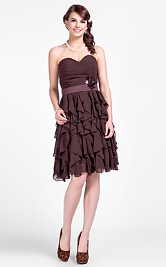 A-line Sweethear Short/Mini Chiffon Bridesmaid Dresses