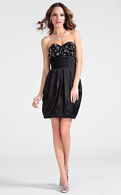 Sheath/Column Sweetheart Short/Mini Satin Chiffon Cocktail Dress