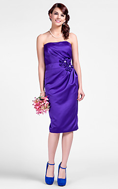 Sheath/Column Strapless Knee-length Satin Bridesmaid Dresses