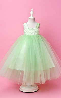 Ball Gown Straps Floor-length Tulle And Satin Flower Girl Dress
