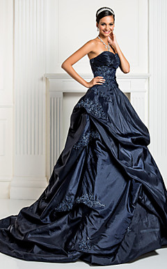 Ball Gown Sweetheart Court Train Taffeta Evening Dress