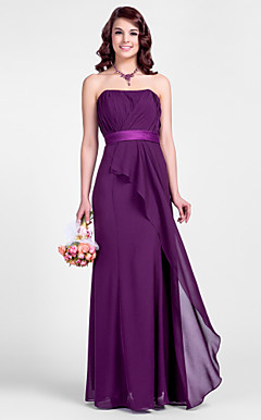Sheath/Column Strtapless Floor-length Chiffon Bridesmaid Dresses