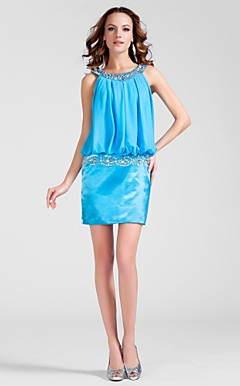 Sheath/Column Scoop Short/Mini Chiffon And Stretch Satin Cocktail Dress