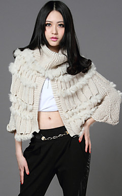 3/4 Sleeve Standing Collar Sweater/Rabbit Fur Casual/Party Coat(More Colors)