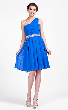 A-line One Shoulder Knee-length Chiffon Bridesmaid Dress