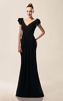Chiffon Trumpet/Mermaid V-neck Short Sleeve Sweep/Brush Train Evening Dress