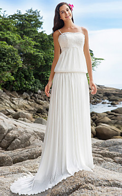 Sheath/Column Spaghetti Straps Court Train Chiffon And Lace Wedding Dress