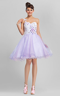 Ball Gown One Shoulder Knee-length Tulle Cocktail Dress With Beading