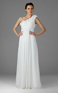 Empire One Shoulder Floor-length Chiffon Over Mading Bridesmaid Dress