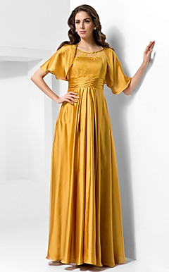 A-line Scoop Floor-length Satin Evening Dress With A Wrap