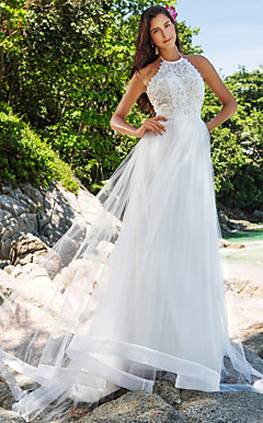 A-line High Neck Chapel Train Organza And Lace Wedding Dress