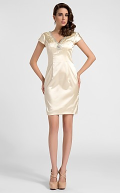 gaine / colonne v-cou robe de cocktail courte / mini en satin