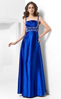A-line Straps Floor-length Satin Evening Dress