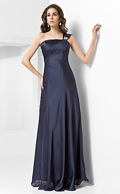 Sheath/Column One Shoulder Floor-length Satin Chiffon Evening Dress
