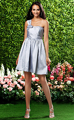 A-line One Shoulder Short/Mini Taffeta Bridesmaid Dress