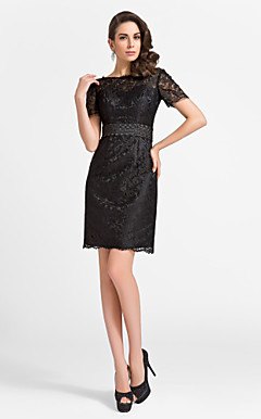 Sheath/Column Jewel Knee-length Lace And Satin Cocktail Dress