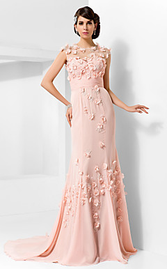 Trumpet/Mermaid Jewel Court Train Chiffon And Tulle Evening Dress