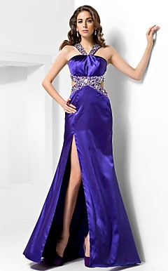 Trumpet/Mermaid Straps Sweep/Brush Train Satin Evening Dress