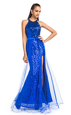 Sheath/Column Jewel Floor-length Sequined And Tulle Evening Dress