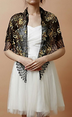 Nice Rayon Evening/Wedding Shawl With Embroidery & Sequins