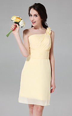 Sheath/Column One Shoulder Knee-length Chiffon Over Satin Bridesmaid Dress