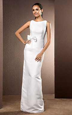 Sheath/Column Bateau Floor-length Chiffon Wedding Dress