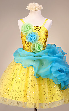 Nice spaghettistropper Tulle / Satin Wedding / Evening Flower Girl Dress